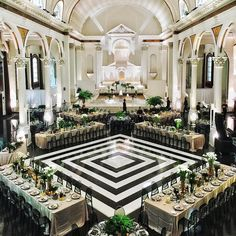 """1,284 Likes, 46 Comments - WedLuxe Media (@wedluxe) on Instagram: """"The design of this repurposed cathedral is extraordinary on its own, but we love how the graphic…"""""""
