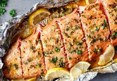 Honey Garlic Butter Salmon In Foil in under 20 minutes, then broiled (or grilled) for that extra golden, crispy and … Raspberry Jello Salad, Salmon Packets, Butter Salmon, Fish Soup, Fish Dishes, Main Dishes, Garlic Butter, Salmon Burgers, Fish Recipes