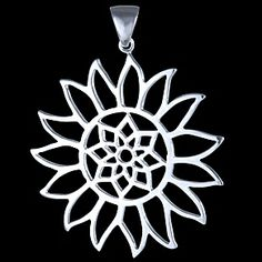 Silver pendant, sun Silver pendant, Ag 925/1000 - sterling silver. Fresh-playful pattern of sun. Extra large size, catching attention at a first glance. Fashionable. Dimensions without loop approx. 39x39 mm. The loop is large enough for thicker chain.