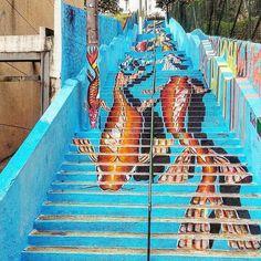Escadaria Sumaré! Arte e foto by @antoniomassola  #saopaulocity #graffiti #streetart