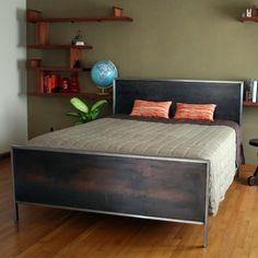 Steel Panel Bed  Platform Queen Size by deliafurniture on Etsy, $860.00 - excellent merging of rustic-ish and modern. Good compromise w/Ben. Things to consider about footboard - making the bed, sheet in/out, bed skirt... maybe just the headboard...