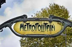 Picture of Famous Art Nouveau sign for the Metropolitain underground system in Paris stock photo, images and stock photography. Art Nouveau, Website Images, Famous Art, Music Files, Paris, Signs, Stock Photos, Pictures, Photography