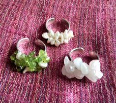 Choice of Cultured Freshwater Pearl, Peridot or Rose Quartz Sterling Silver Adjustable Ring.