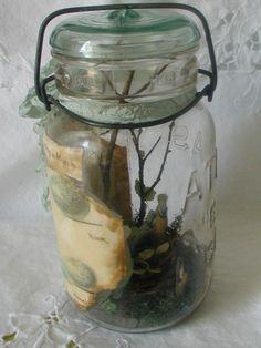 Vintage Canning Jar Miniature Diorama Nature Birds