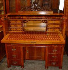 Desk, Biedermeier style, walnut, 1840 - 151 cm x 130 cm x 58 cm (h x w x d), www. Desks, Antique Furniture, Corner Desk, Vanity, Mood, Antiques, Home Decor, Style, Furniture