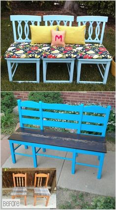 Upcycling Möbel DIY Gartenbank Ideen alte Stühle