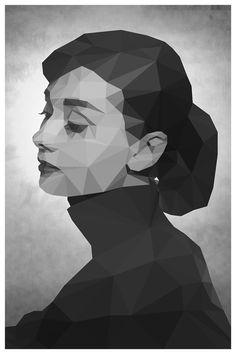 Audrey Hepburn Geometric Minimalist Poster by AllGeekyPrints