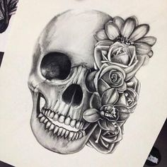 Skull and roses- love the black and gray: