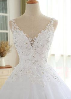 Lilybridalshop Luxury Tulle V-neck Neckline Ball Gown Wedding Dresses With Beaded Lace Appliques dresses ball gown dresses boho dresses lace dresses princes dresses simple dresses vintage Western Wedding Dresses, Princess Wedding Dresses, Wedding Dress Styles, Bridal Dresses, Wedding Gowns, Beaded Dresses, Bridesmaid Gowns, Long Sleeve Wedding, Wedding Dress Sleeves