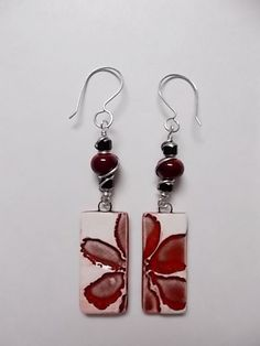 Earrings made with Firefly Design Studio Ceramic beads and Lampwork by Carol Dillman