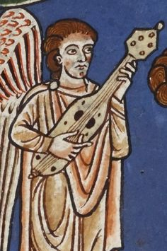 Plucked Fiddle or necked-cithara from Rylands Beatus. Sound holes at each corner are like those on citole. D-holes are standard fiddle soundholes.