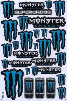 Monster Energy ATV Racing Graphic Sticker Decal 1 Sheet ME25P Blue