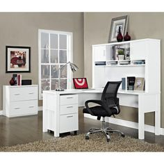 Maximize your space with the Room & Joy Boxwood L-Shaped Desk so you can get more done. With a large desktop, you have plenty of room on which to place your laptop, desk lamp, books, documents, office supplies and keepsakes. The wire management grommet ensures cords stay tidy, organized and out of the way. With no obstructions, it's easy to navigate from one side of the unit to the other so you can flow through your work smoothly. This unit can be used in virtually any office setting....