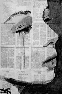 Biết đến Loui Jover qua bức vẽ này. có lẽ dùng giấy báo làm nền ko phải là một ý tưởng mới lạ gì, nhưng nhìn những vệt mực chảy dài trên gương mặt lại có cảm giác rất ưu thương. Và tôi đã thích nó như thế.