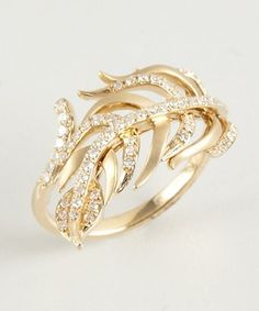 Julieri diamond and yellow gold 'Serpiente' feather ring