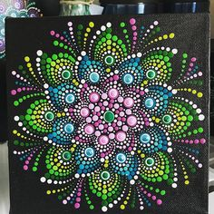 6x6 canvas from this morning. I get up way too early. #dotdotdot #dotwork #mandaladotpainting #thedottedturtle #mandalart #edmontonartist #edmontonpainters #mandala #mandaladotpainting