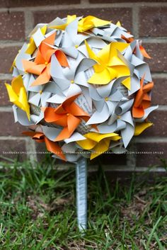 DIY wedding pinwheel bouquets.