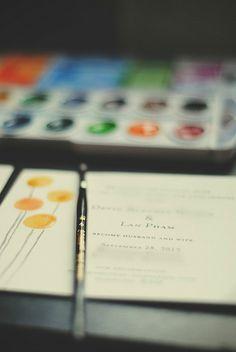DIY Watercolor Wedding Invites | MoreStomachBlog
