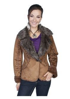 Faux Fur and Suede Jacket in Rust by Scully_$95.00 : The Nevada City Traders