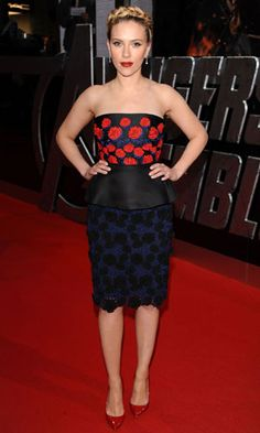Scarlett Johansson in a strapless Prada dress complete with florals, lace and a peplum at the London premiere of 'The Avengers'