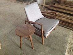chair with table made in walnut wood, $2,200