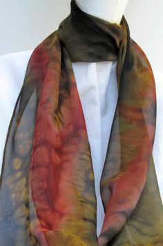 Hand Painted SILK CHIFFON SCARF by ShariArts on Etsy, $34.00