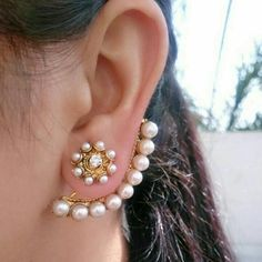 Beautiful Gold Plated Flower Stud with Pearl Ear Cuff Hoop Indian Jewelry - adel jewels - Schmuck Jewelry Design Earrings, Gold Earrings Designs, Ear Jewelry, Crystal Jewelry, Antique Jewellery Designs, Fancy Jewellery, Jewellery Shops, Indian Earrings, Indian Jewelry