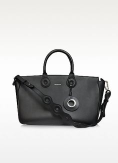 €490.00 | Large Leather Tote Bag w/Shoulder Bag crafted in natural grained calfskin has modern lines and a clean look great for work and commute. Featuring zip closure, double handles with detachable shoulder strap, signature on front, hanging logo detail and silver tone hardware. Signature dust bag included.