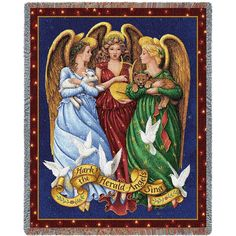 Angels Trio Art Tapestry Throw