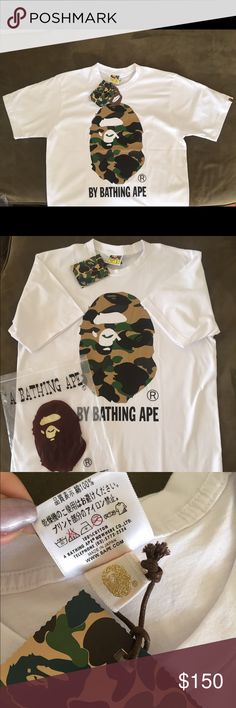 BAPE Camo White T shirt Large Authentic BAPE Camo White T shirt Large 100% Authentic Guaranteed. If you like this, you'll definitely love my other listings. check em out ^_^ Shirts Tees - Short Sleeve