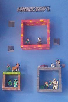 wooden Cube shelving custom minecraft style - Minecraft World Minecraft Bedroom Decor, Minecraft Wall, Minecraft Decorations, Minecraft Crafts, Minecraft Party, Minecraft Houses, Minecraft Bedding, Minecraft Furniture, Minecraft Skins