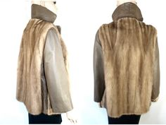 Vintage Rare Taupe Leather and Mink Fur Coat With by VintageFatale, $660.00