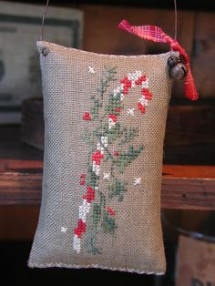 primitive cross stitch candy cane pillow  ornament