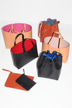 Mansur Gavriel Bags. Made in the US with Italian vegetable tanned leather and bright, coated interiors.