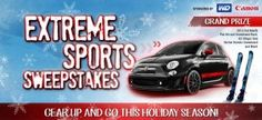 Enter the amazing Newegg Extreme Sports Sweepstake and you could win a 2012 Fiat Abarth. There are weekly prizes including cameras, skis, snowboards, and gift cards.