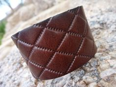 Brown Leather Bangle/Cuff Bracelet  Unisex by BOVETTA on Etsy, $30.00