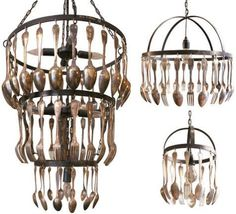 Cutlery chandeliers - I've seen this before and have always wanted one. Buy bags of flatware at the thrift store.