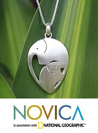 Sterling silver pendant necklace, 'Loving Elephants' at The Animal Rescue Site