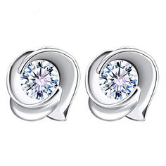 New Fashion Rose Flower Earring Silver Plated Clear Crystal Cubic Zircon Earrings For Women Brincos Wedding Bride Jewelry 2017
