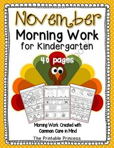 November Morning Work for Kindergarten CCSS - 40 pages (20 literacy, 20 math) of November morning work for Kinders. These Common Core aligned activities have weekly repetitive directions to encourage independent workers. .  A GIVEAWAY promotion for November Morning Work for Kindergarten Common Core Aligned from The Printable Princess on TeachersNotebook.com (ends on 11-1-2013)