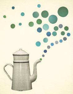 Retro Kitchen Art, Coffee Art Print, Giclee Print - Coffee