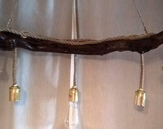 Handmade Stunning Driftwood Ceiling light with rope. Home decor. Office Decor
