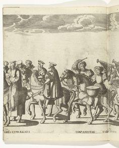 Vertegenwoordigers van de Universiteit van Bologna en twee trommelslagers, plaat 30, Nicolaas Hogenberg, 1530 - 1536