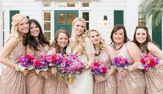 Plum & gold bridal party bouquets (Flowers by Lee Forrest Design, photo by: Amalie Orrange Photography)