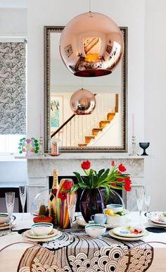 Formal dining – original fireplace, Ikea fabric on table, Tom Dixon light. Dining Room Inspiration, Interior Inspiration, Copper Furniture, Custom Furniture, Outdoor Furniture, Tom Dixon Lighting, Ikea Fabric, Decoracion Vintage Chic, Color Cobre