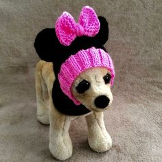 Pet Clothes Apparel Outfit Crochet Minnie Mouse Hoody Snow-Hat for Small Dog Hand Knitted XS Size Nice Gift Yorkie, Chihuahua, Minnie Mouse, Animals And Pets, Cute Animals, Knitted Hats, Crochet Hats, Snow Hat, Original Design