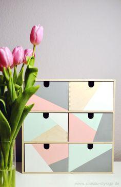DIY Schubladenbox für Kosmetik oder Krimskrams. Eine schöne Idee von SOUSOU DIYSIGN #Pastell #Geometrisch #Rosa