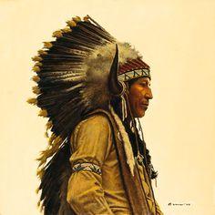 Black Elk´s Great Grandson, James Bama LIMITED EDITION CANVAS - Ashley's Art Gallery