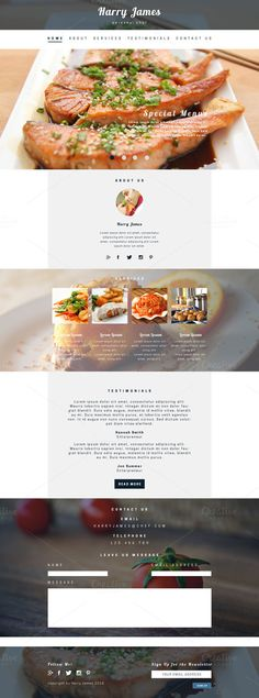 Private Chef PSD Website Template by Food Web Design, Binder Templates, Minimal Web Design, Private Chef, Newsletter Design, Personal Chef, Website Themes, Website Template, Catering