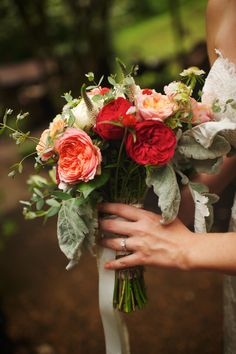 Luscious wildflower and juliet rose bouquet in red coral and peach. Flowers by Tallahassee May of Turnbull Creek Farm. photography by Justin Wright